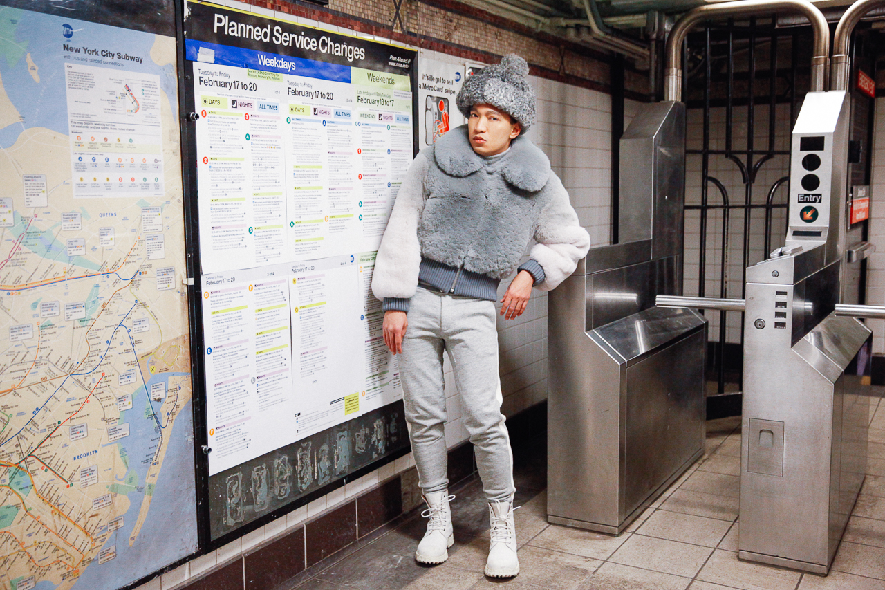 Fashion blogger Bryanboy at Rector Street subway station, New York City