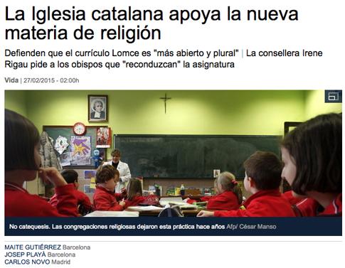 15b27 LV Iglesia catalana apoya nueva materia religión