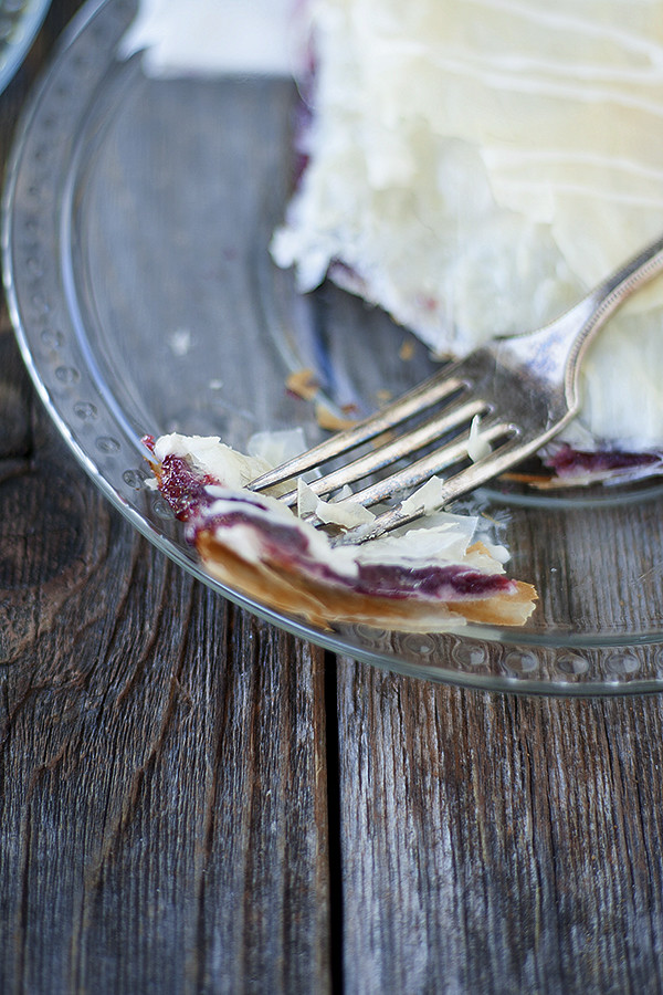 phyllo  breakfast pastry with homemade strawberry jam