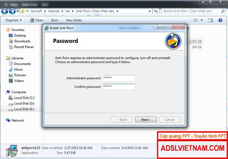 Cài mật khẩu anti-porn