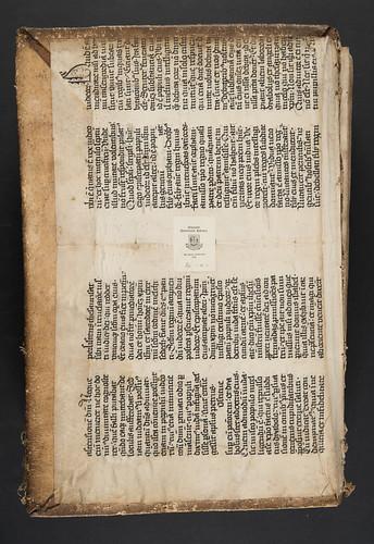 Manuscript pastedown in Vincentius Bellovacensis: Speculum doctrinale