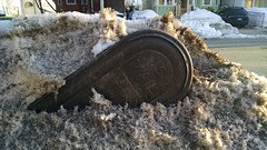 Toppled relay mailbox in the snow, Somerville, MA