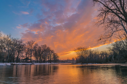 trees winter sunset sky snow reflection tree clouds reflections geotagged evening nikon unitedstates indiana elkhart islandpark stjosephriver nikond5300