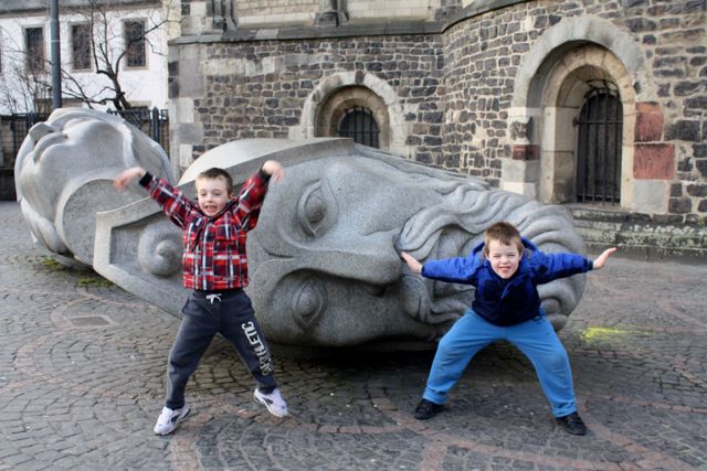 Erl & Wil outside the cathedral in Bonn, Germany