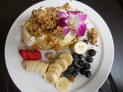 papaya yogurt granola bowl