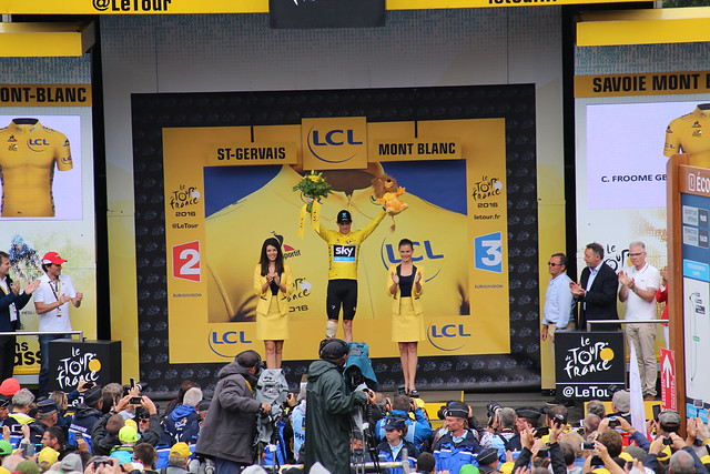 Tour de France 2016 Chris Froome on the podium as overall leader at stage 19, Saint Gervais Mont Blanc