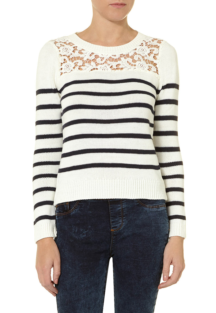 Ivory/navy lace yoke jumper