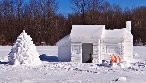 winter snow cold cabin