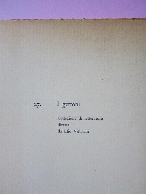 L'entrata in guerra, di Italo Calvino. Einaudi 1954. [Progetto grafico di Albe Steiner]. Pagina dell'occhiello (part.), 2