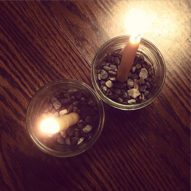 "Candles. (We'll light them ""for real"" on the Solstice tomorrow, but someone was very insistent that we ""test"" them first.)"