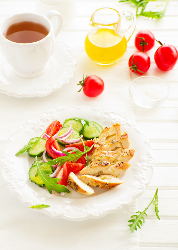 Light salad with roasted chicken breast.