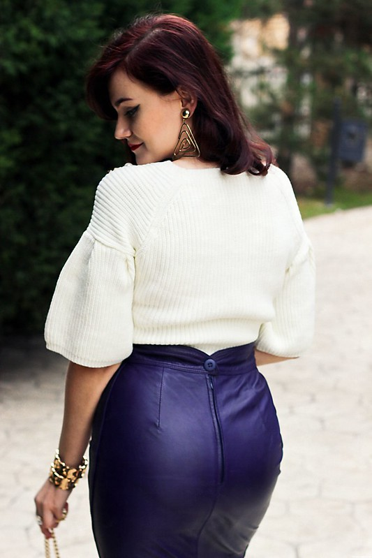 purple leather skirt3,vintage skirt,leather skirt,sheinside sweater