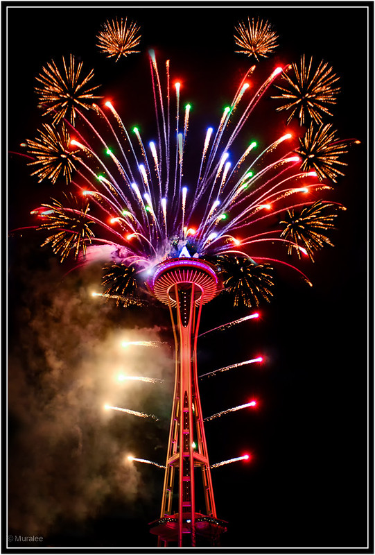 New year night fire works at Space Needle in Seattle - Copyright (c) Muralee Raghavan - ALL RIGHTS RESERVED