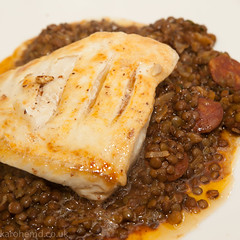 Halibut, stewed lentils, chorizo