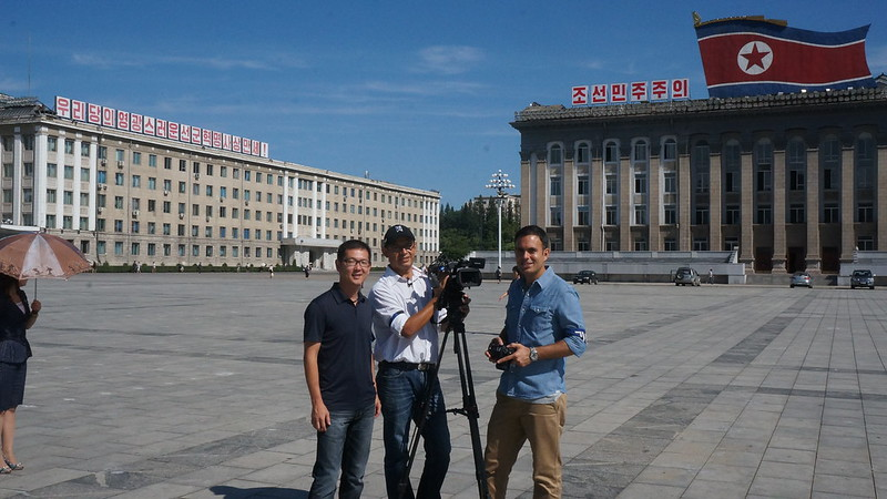 Globo SporTV crew shooting in Kim Il Sung Square