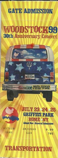 07/23 - 25/99 Woodstock '99 @ Rome, NY (Transportation Ticket)