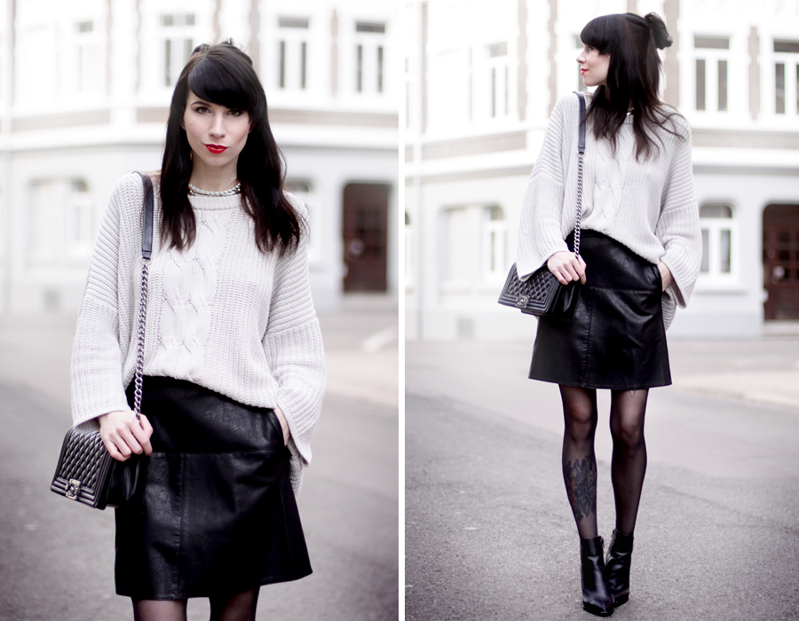 outfit black leather skirt chunky knit chanel bag heels geisha look makeup red lips black hair snow white blogger ricarda schernus hannover berlin germany fashionblogger 5