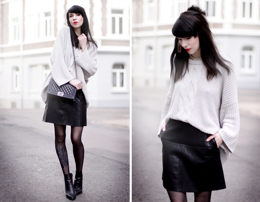 outfit black leather skirt chunky knit chanel bag heels geisha look makeup red lips black hair snow white blogger ricarda schernus hannover berlin germany fashionblogger 6