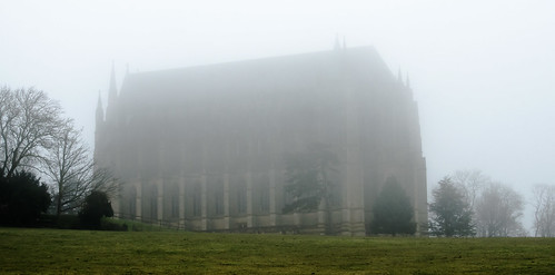 Lancing College in the mist