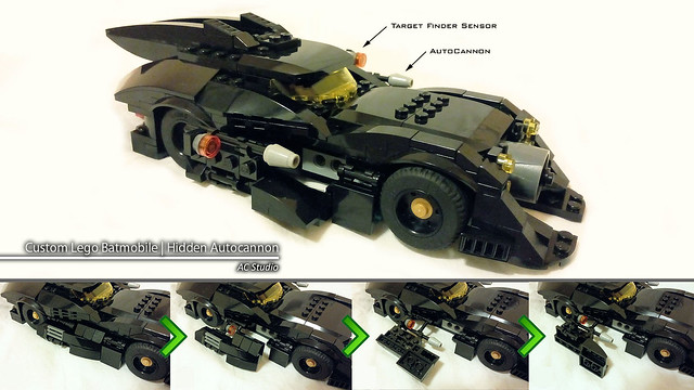 Batman Lego | Custom Batmobile - 3rd design upgrade (Manifold Hidden Autocannon-launch Mechanism)