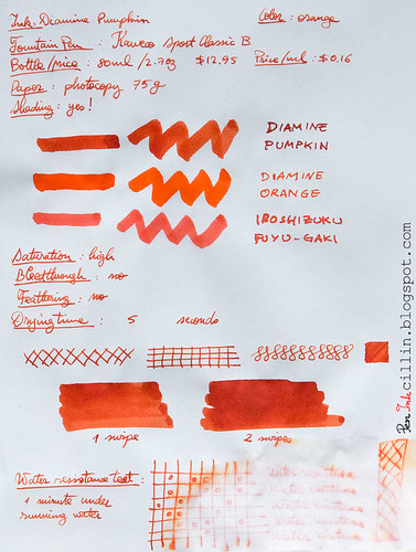 Diamine Pumpkin on photocopy