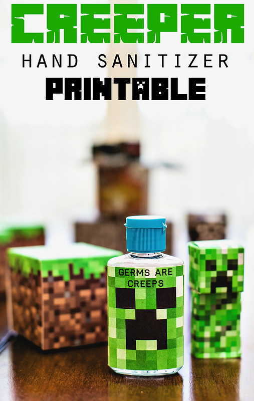 graphic relating to Minecraft Printable Creeper identified as Minecraft Creeper Hand Sanitizer printable chilly flu