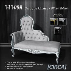VaVoom - Baroque Chaise - Silver Velvet