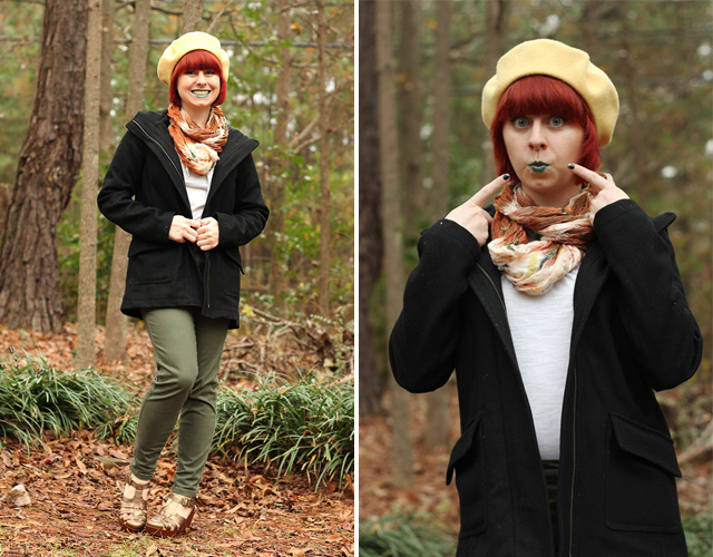 Green Skinny Jeans, Black Coat, Rust Orange Scarf, Yellow Beret, and Green Lipstick