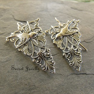 Antique Silver Filigree Swallow Earrings