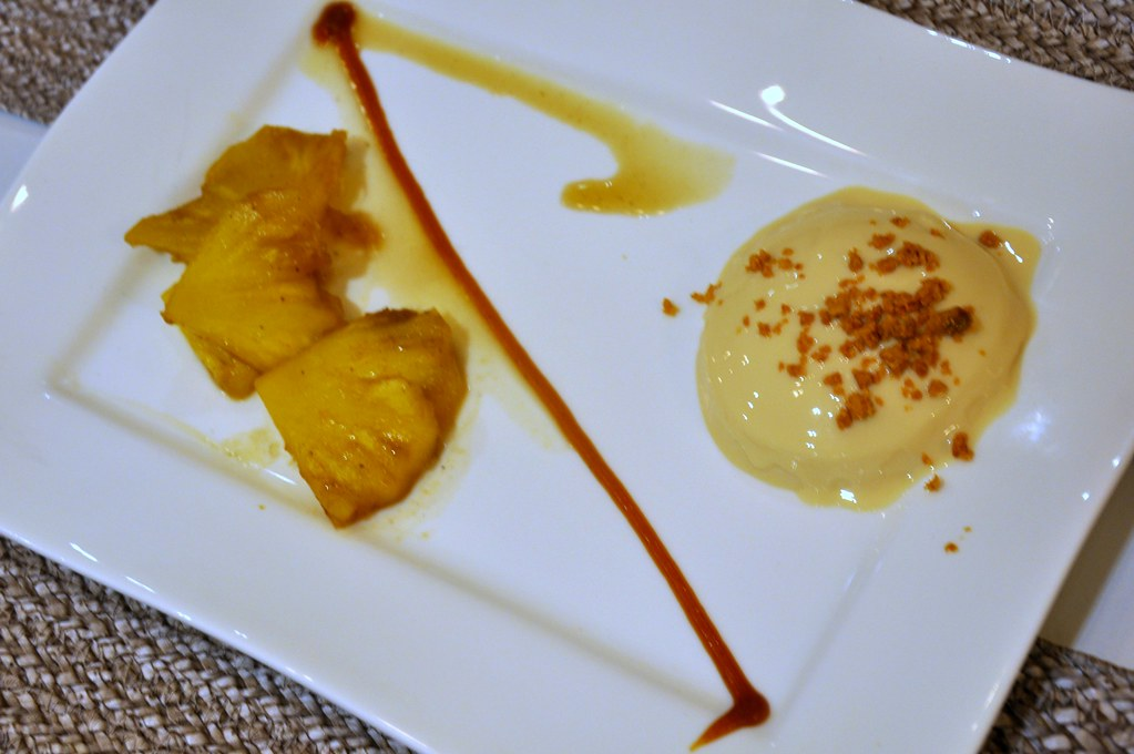 Panna Cotta and Flambeed Pineapple