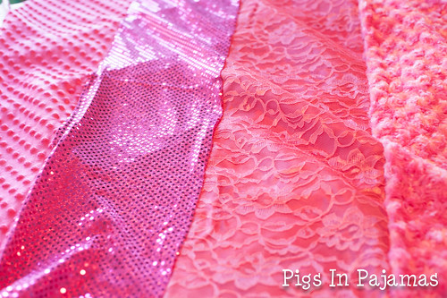 Strips of pink texture fabric