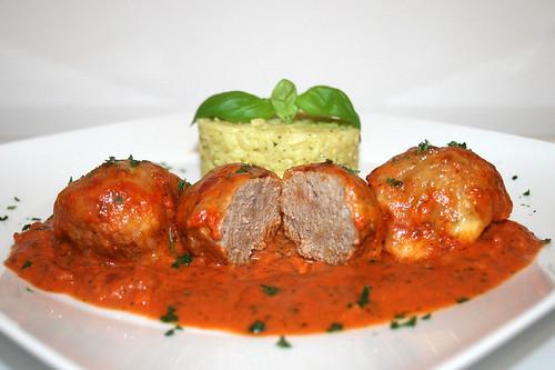 50 - Hackbällchen Toskana - Querschnitt / Meatballs Tuscany - Lateral cut