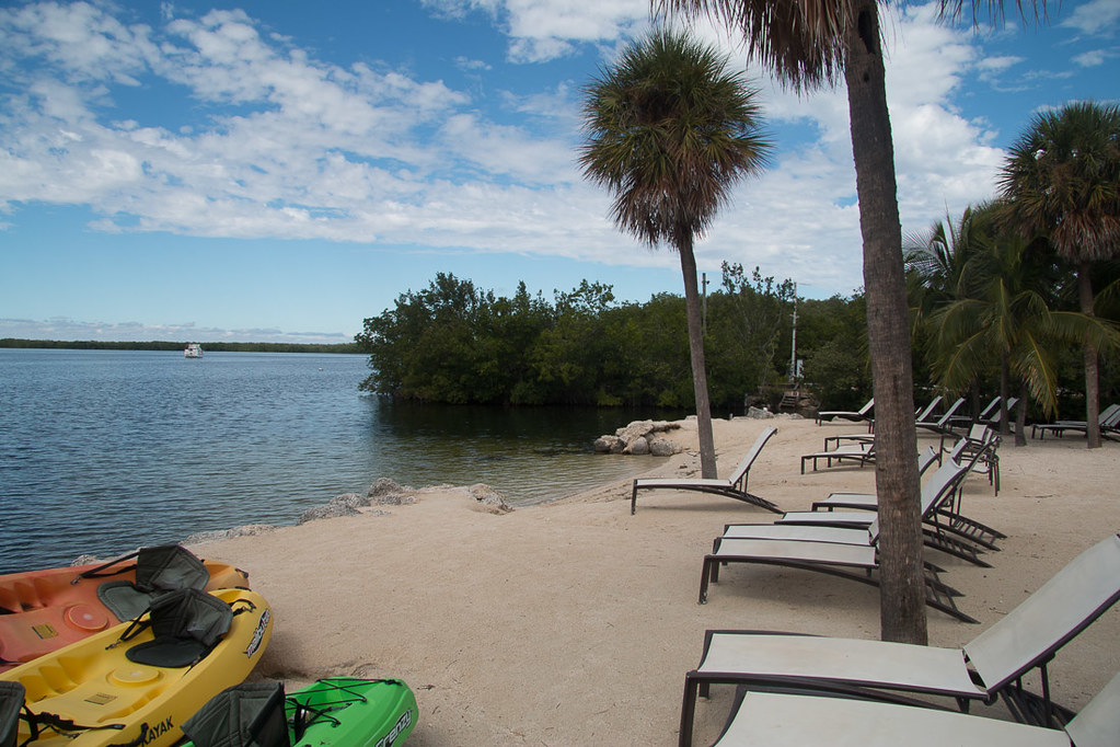 Beach and lounge chairs at Hampton Inn Key Largo