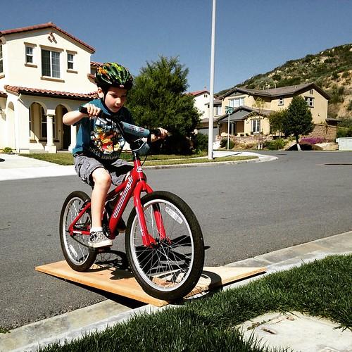 He picked to work on bike skills. Beats working in the garage.