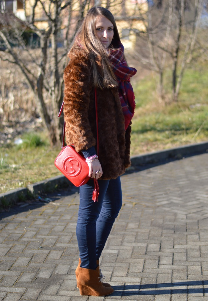 pellicciotto, faux fur, Zara, outfit, look, Benetton, Gucci, disco bag, wildflower girl (19)