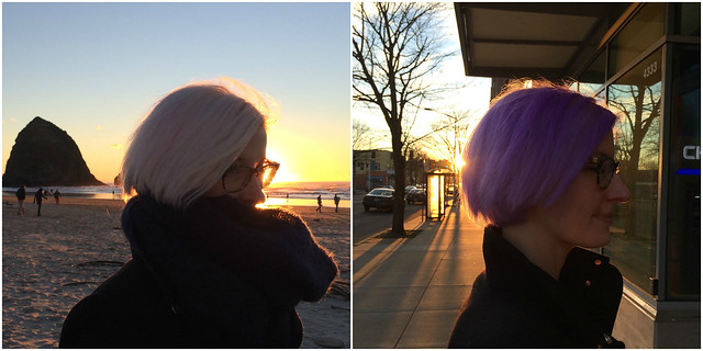 kate wirth pink and purple hair collage