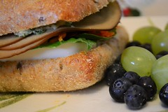 Sandwich, Grapes, and Blueberries for Lunch (Vegan…