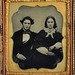 A Man, His Hair, and His Wife, 1/6th-Plate Ambrotype, Circa 1858 by lisby1