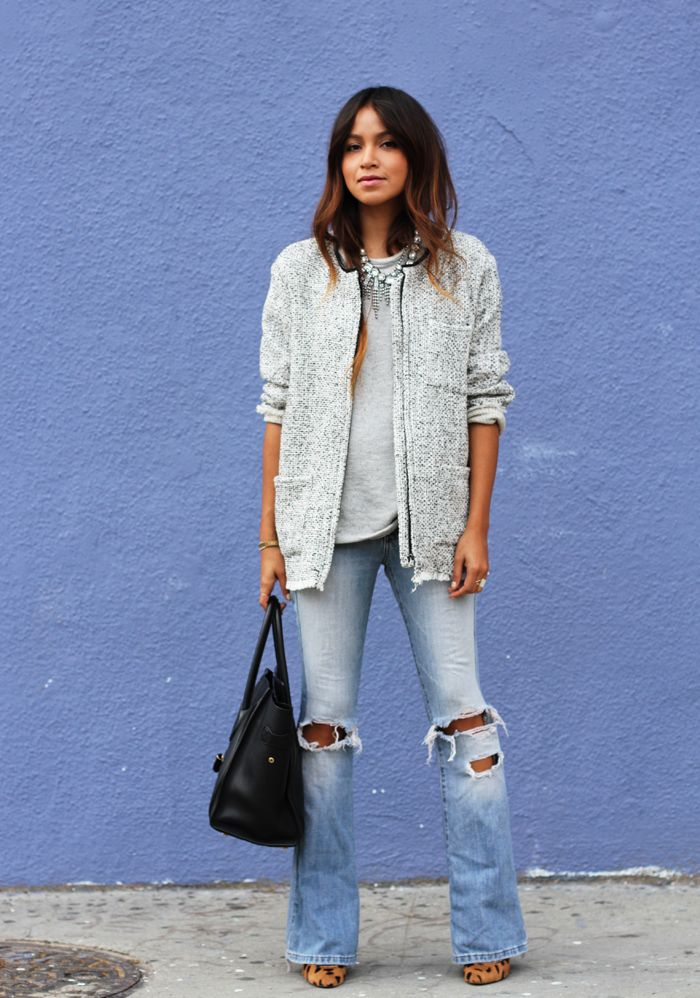 flared and ripped jeans streetstyle