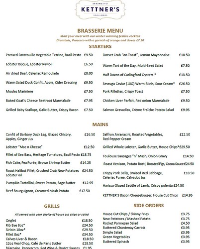 Kettner's sample menu - Feb 2015