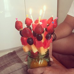 Knowing that i don't like cakes, my wife made this Birthday cake from fruits. Thank you love!
