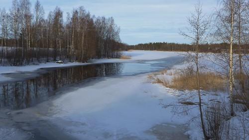 winter river talvi valkeala joki käyräjoki