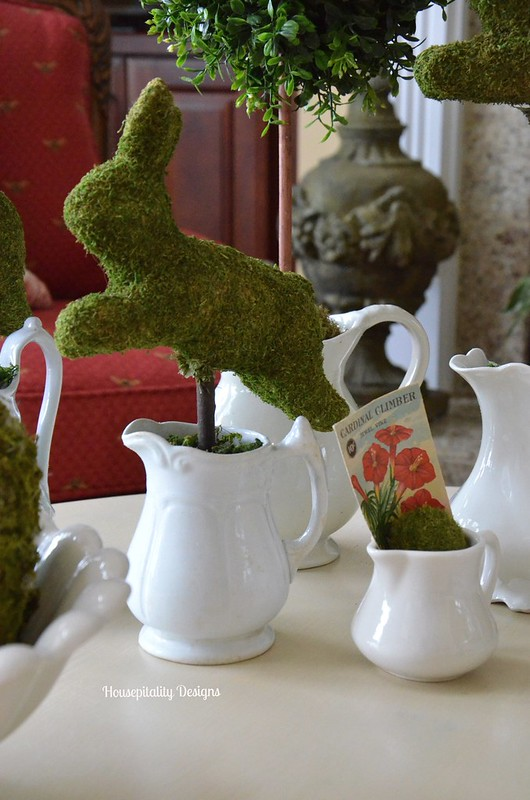 Moss covered bunnies/Ironstone-Housepitality Designs