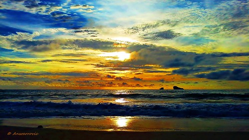 sunset sea sky sunlight seascape reflection beach water gold sand malang