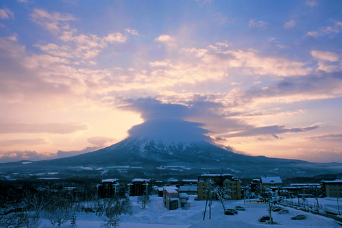 morning winter sun snow film japan clouds analog sunrise asia hokkaido slide niseko mtyotei hirafu nikonfm3a mountyotei