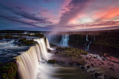 Dusk over Floriano Falls at Iguazu Falls in Brazil