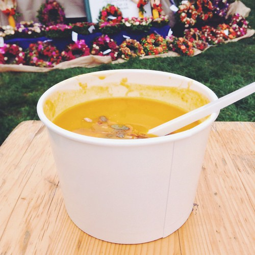 A wonderfully fall cup of pumpkin soup from a farmer's market in Prague.