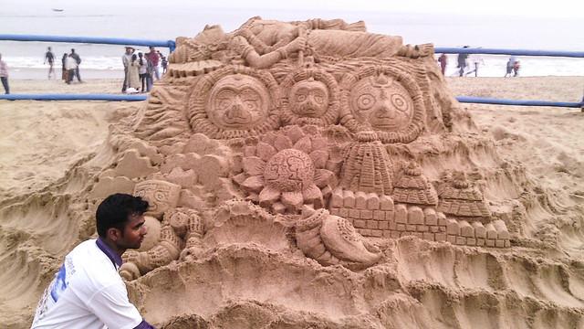 #KonarkFestival2014 Sand Art Theme Nabakalebara by Rajeswar Mahapatra