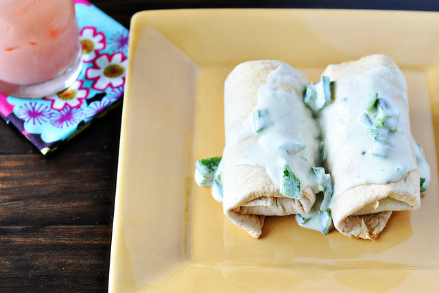 Beef and Bean Baked Burritos with Sour Cream-Poblano Sauce