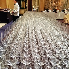 Wine glasses are locked and loaded.